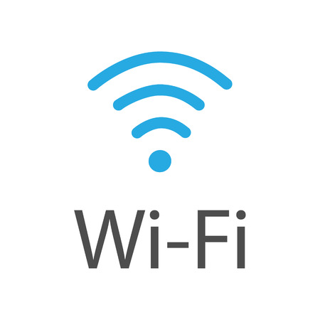 Raster Illustration Flat Design Blue Wireless Icon. WiFi Symbol ...