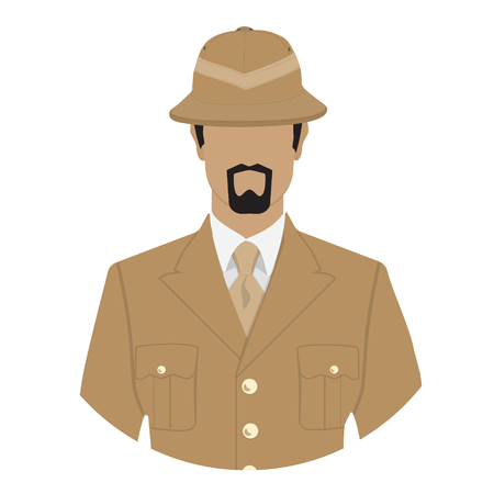 Raster illustration adventurer, archeologist  or explorer character. Traveler  in safari hat