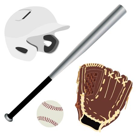 White baseball batting helmet, brown leather baseball glove, metallic baseball bat and baseball ball raster isolated