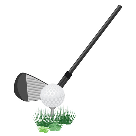 Golf ball , golf club, golf club on tee, golf club raster Stock Photo