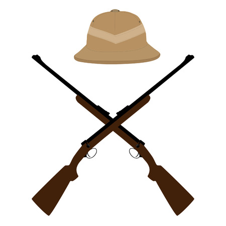 Brown safari hat and crossed rifles raster icon set. raster illustration of hunter hat and hunting rifle. Safari symbols