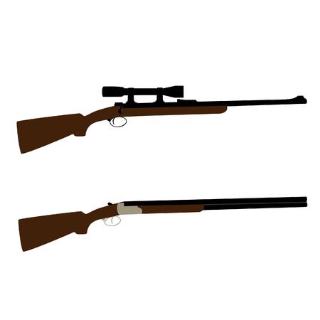 Old hunting rifle and shooting shotgun raster set isolated, military weapon Stock Photo - 90387048