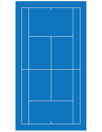 Blue clay tennis field, court raster isolated on white Stock Photo