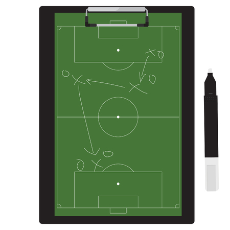 raster illustration of football tactic on clipboard. Soccer tactic board. Writing a soccer game strategy on a blackboard.