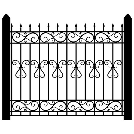 Raster illustration wrought iron modular railing and fence. Vintage gate with swirls. Black forged fence Standard-Bild