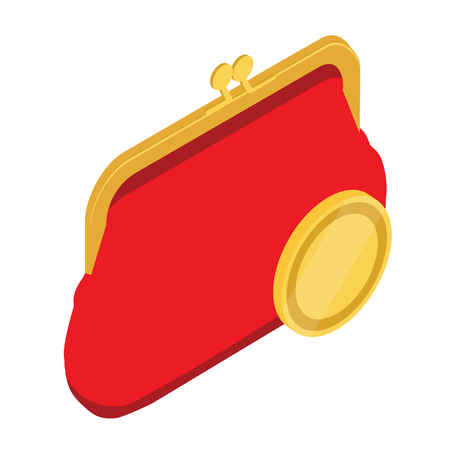Raster illustration 3d isometric red retro purse for coins. Purse flat icon