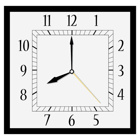Raster illustration office square clock. Classic black and white  wall clock isolated on white. Clock on wall shows eight oclock Banco de Imagens