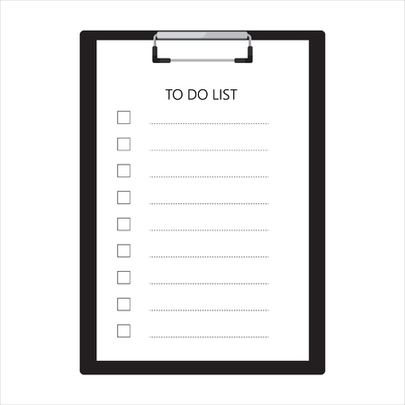 Black clipboard and to do list with empty check boxes raster illustration. Survey icon, checklist icon