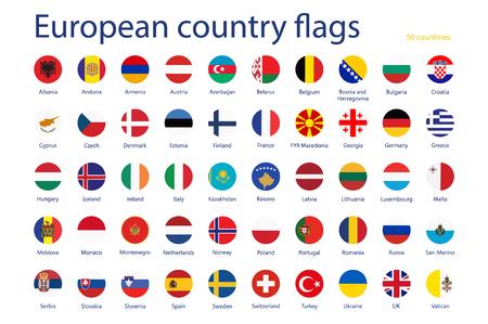 ヨーロッパの国のフラグ名のラスター イラスト セット。50 カ国