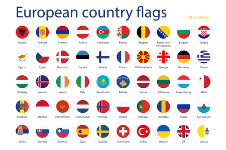 Raster illustration set of European country flags with names. 50 countries