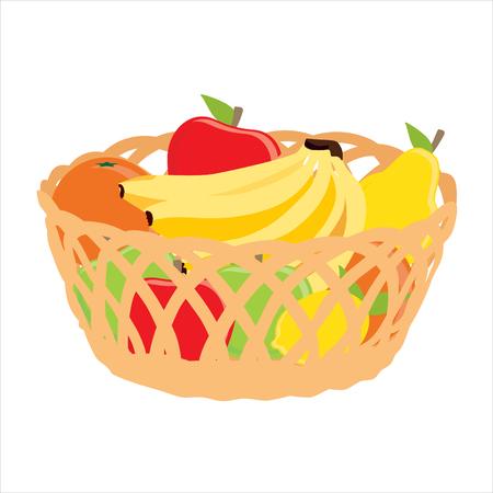 Raster illustration wicker basket with fruits banana, apple, pear, orange icon isolated on white background. Fruit basket Stock Photo