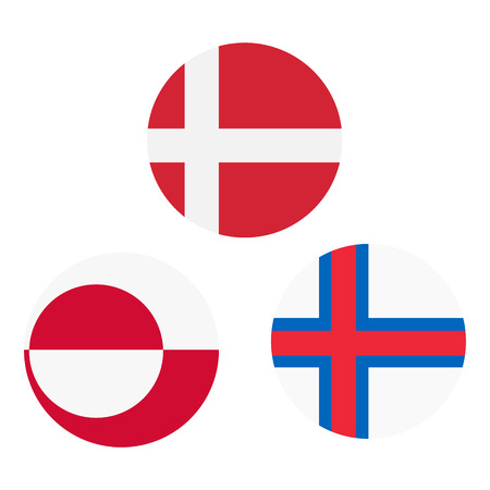 Raster illustration set, collection Greenland, Denmark and Faroe Islands round flags