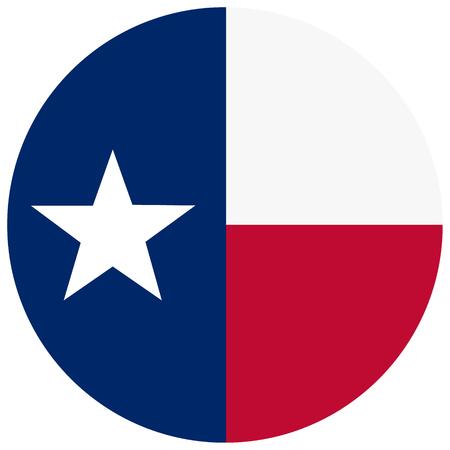 Round Texas state flag raster icon isolated on white background. USA Texas state flag button