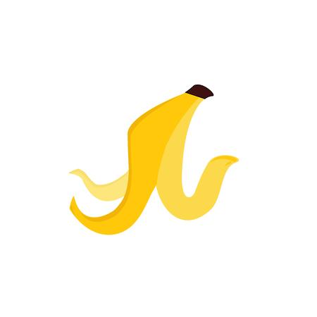 Raster illustration banana peel icon isolated on white background. Trash and garbage symbol Stock Photo
