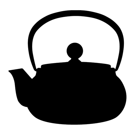 Raster illustration black silhouette of teapot icon isolated on white background. Tea party or afternoon tea Stock Photo
