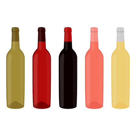 Raster illustration set, collection of wine bottles with red, white and rose wine. Alcohol bottle icon Stock Photo
