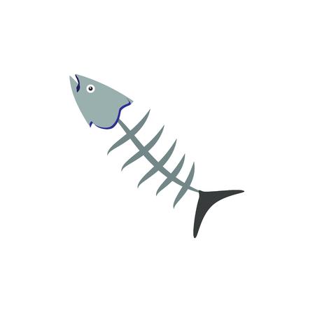 Raster illustration fish bone icon isolated on white background Stock Photo