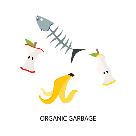 Raster illustration recycling garbage organic food trash tires management industry utilize waste Stock Photo