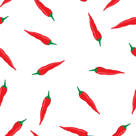 Raster illustration chili peppers seamless pattern, background. Stock Photo