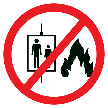 illustration in case of fire do not use elevator sign, symbol icon isolated on white background