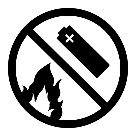 Black warning sign: do not incinerate and put the battery on fire icon isolated on white background