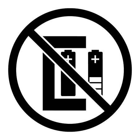 Vector illustration warning sign not rechargeable battery.  Simple, black and white sign, symbol isolated on white background
