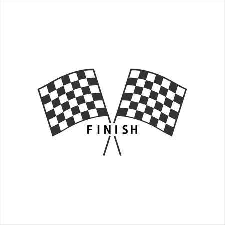 Vector illustration two crossed auto racing flag icon. Finish checkered flag sign, symbol.