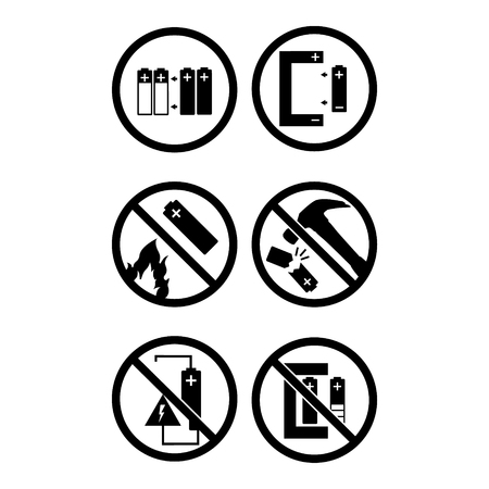 Vector illustration black round icon set. Collection battery warning sign. Do not put in fire, recharge, destroy.