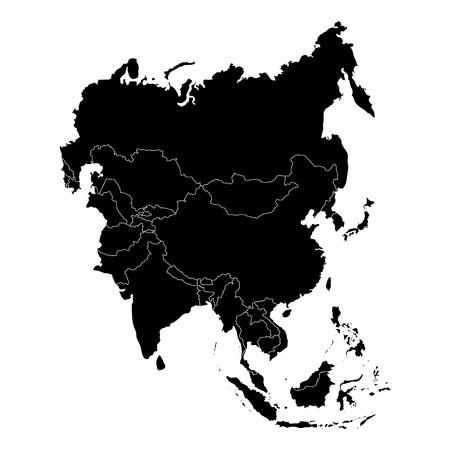 Vector illustration Asia outline map isolated on white background. Asian continent icon