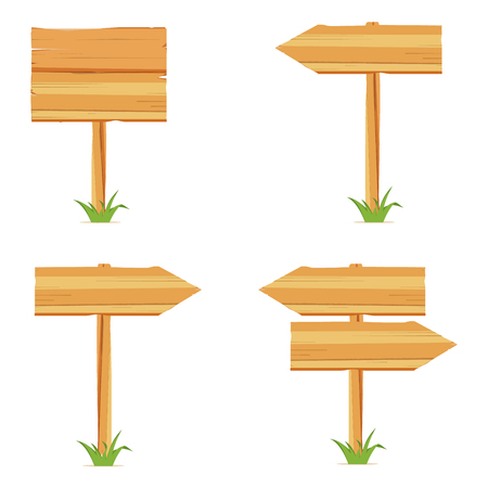 A Vector illustration with wooden signboards, wood arrow sign icon set.