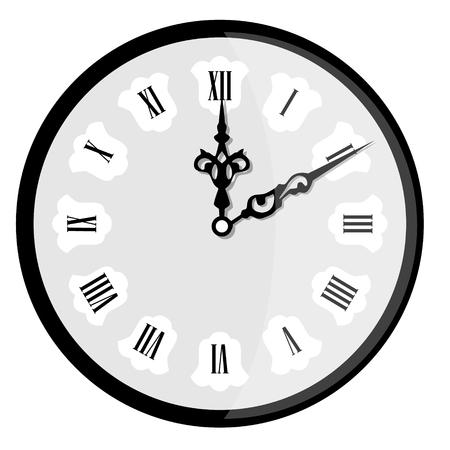 A Vector illustration elegant wall clock with vintage hour hand isolated on white background. Clock on wall shows eight oclock. Roman numeral clock Ilustração