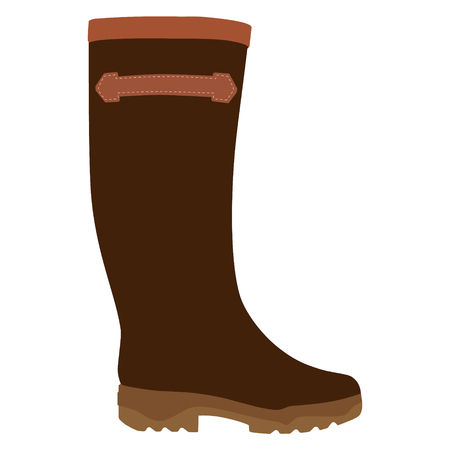 Vector illustration brown wellington rubber boots fashion design. Waterproof boots