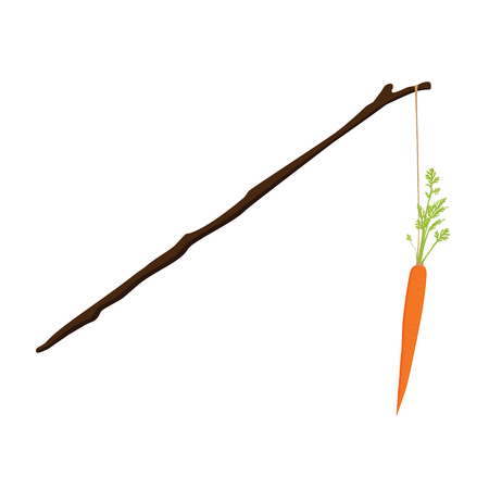 Vector illustration carrot on a stick motivation concept. Motivation and reaching goal
