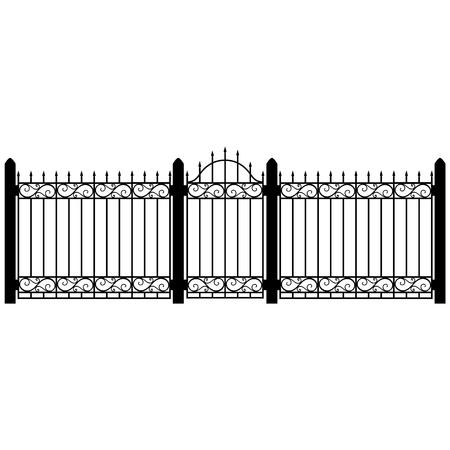 Eine Vektor-Illustration Schmiedeeisen Geländer Geländer und Zaun . Vintage Beton mit Strudeln . Schwarzer Zaun