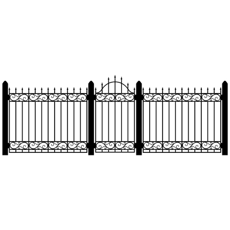 A Vector illustration wrought iron modular railing and fence. Vintage gate with swirls. Black forged lattice fence