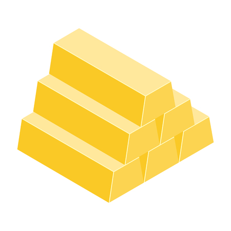 Vector illustration gold bar symbol, sign. Goldbar finance icon