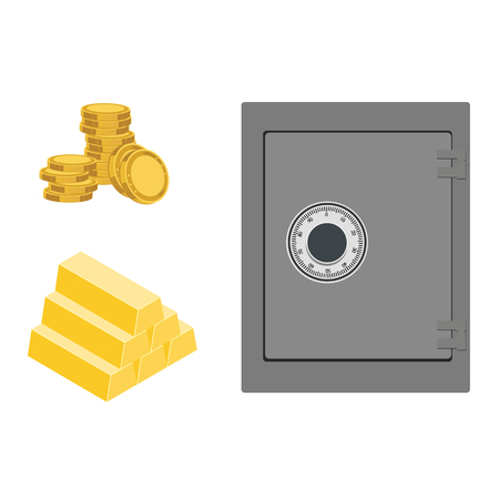Vector illustration isometric safe and gold bar icon isolated on white background. Finance set, collection  Illustration
