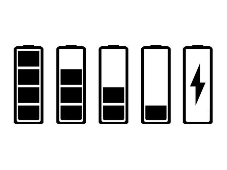 Raster illustration battery indicator icon set. Stok Fotoğraf