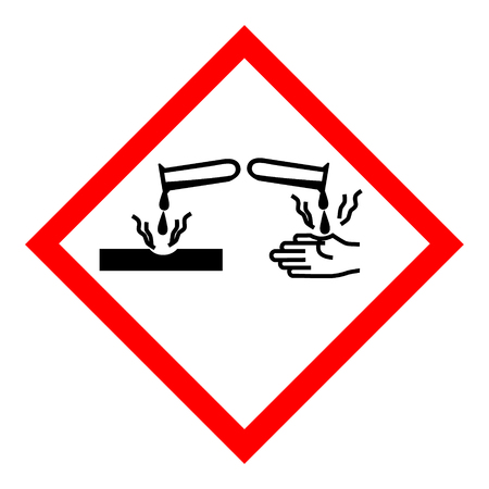 Raster illustration GHS05 hazard pictogram - corrosive , hazard warning sign corrosive substance , isolated on white background Reklamní fotografie