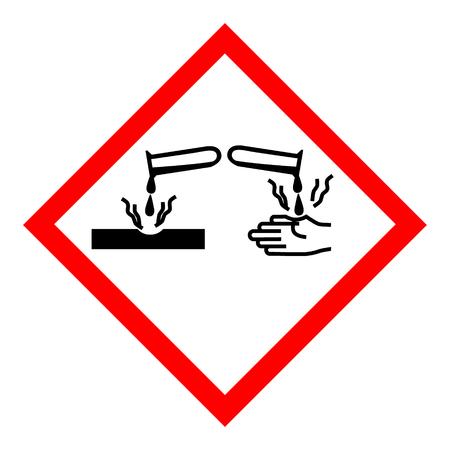 Raster illustration GHS05 hazard pictogram - corrosive , hazard warning sign corrosive substance , isolated on white background Stock Photo