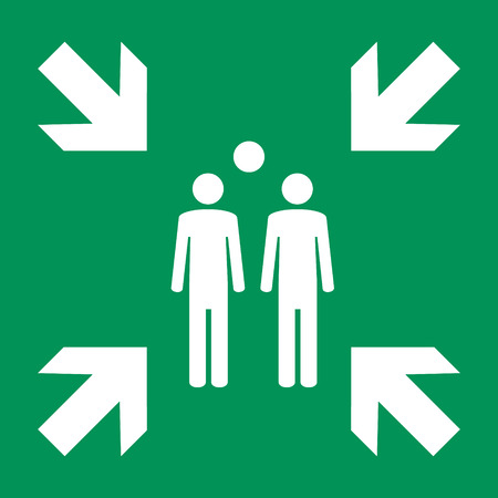 Raster illustration evacuation green assembly point sign, symbol on white background 스톡 콘텐츠