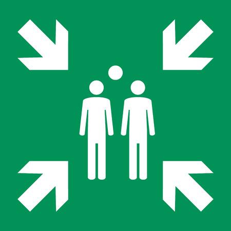 Raster illustration evacuation green assembly point sign, symbol on white background Foto de archivo