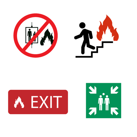 Fire safety raster icon set. In case of fire do not use elevator. Evacuation assembly point symbol. Exit sign.
