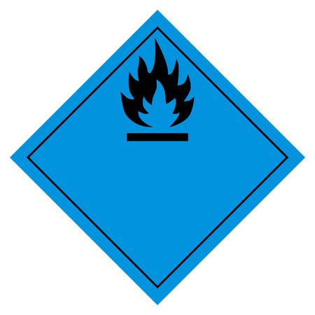 Raster illustration pictogram flammable water sign. Flammable when wet hazard sign