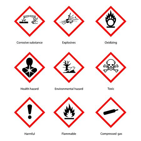 Raster illustration GHS pictogram hazard sign set, set icons isolated on white background. Dangerous, hazard symbol collections Standard-Bild