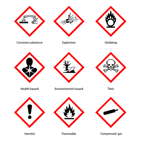 Raster illustration GHS pictogram hazard sign set, set icons isolated on white background. Dangerous, hazard symbol collections Imagens