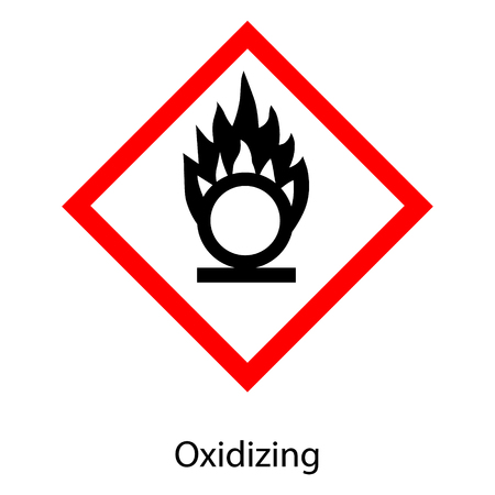 Raster illustration GHS hazard pictogram -oxidizing. Hazard warning sign oxidizing icon  isolated on white background