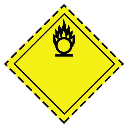 Raster illustration GHS hazard pictogram -oxidizing transport. Hazard warning sign oxidizing transport icon  isolated on white background Stock Photo