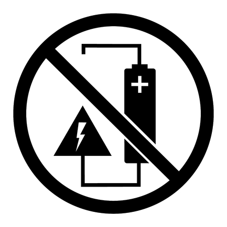 Raster illustration round, warning, caution sign, symbol. Do not charge battery voltage