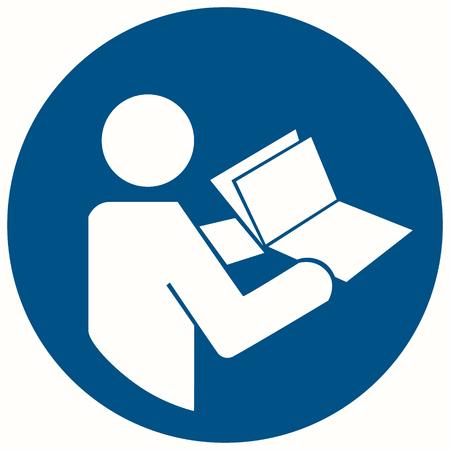 Ilustración de trama señal de seguridad CONSULTE EL MANUAL DE INSTRUCCIONES Y EL FOLLETO. Consulte el manual del manual de instrucciones Foto de archivo